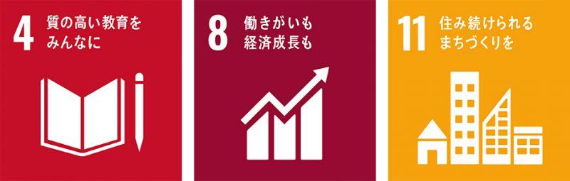 4. 質の高い教育をみんなに|8. 働きがいも経済成長も|11. 住み続けられるまちづくりを